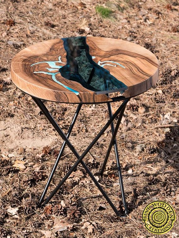 Round Live Edge River Coffee Table With Crossed Hairpin Legs