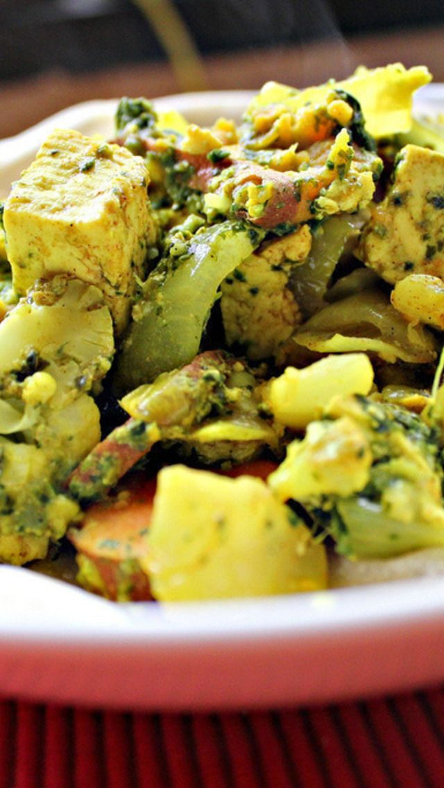 Tofu in Green Chile, Mint and Cilantro Sauce with Sweet Potatoes ...