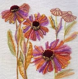 Heleniums Exotic Flower Textile. Stitch down organza ribbon the cut away the excess