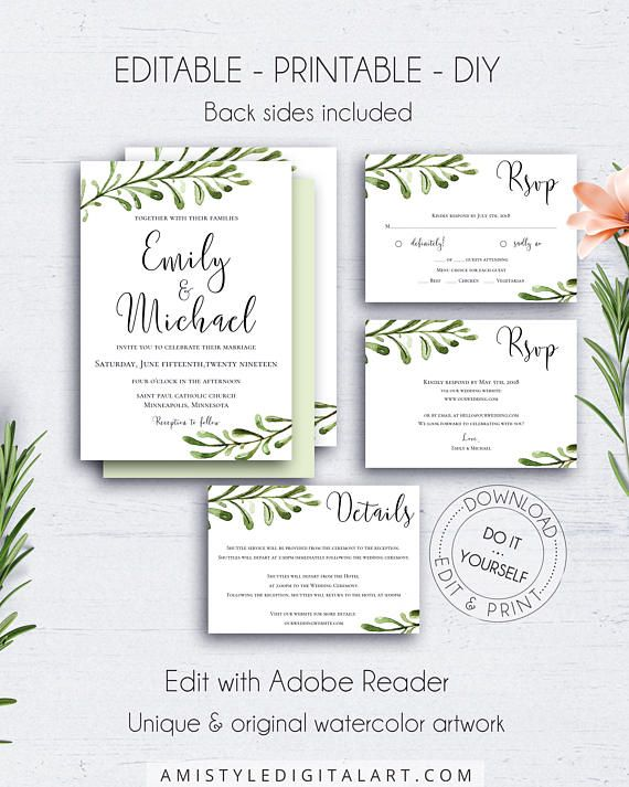 Greenery Diy Invitation Suite Wedding Set Watercolour Wedding