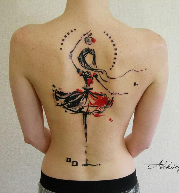 Abstract dancing girl tattoo - Dancing girls on tattoo often looks graceful and serene and it could symbolize exactly that. The abstract vibe could add life to your tattoo and make it look like an effortless thing of beauty.