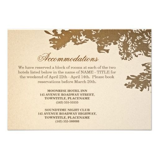 old tree vintage wedding accomodation design personalized invitations wedding accommodation design with old oak tree.