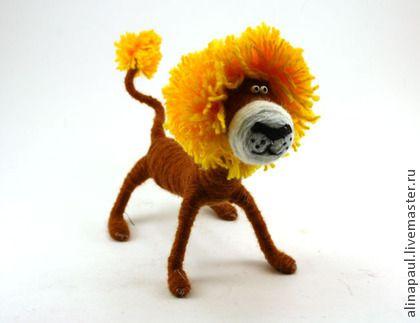 игрушка Лев рыжий (львенок,львы,львята,грива) - коричневый,лев,львенок