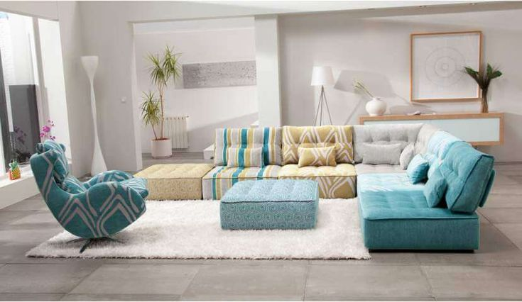 Blue, grey and yellow Alice L shaped sofa with footstool and armchair