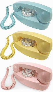 1960s Popular Princess Phones in Blue, Yellow and Pink We thought these were so cool