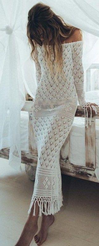 White Crochet off the Shoulder Maxi Dresss                                                                             Source