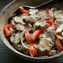 Beef Stroganoff Stir-fry, by Grace Young for Weight Watchers. Raves about her recipes in general.