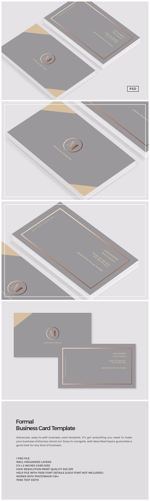 Formal Business Card Template by The Design Label on @creativemarket