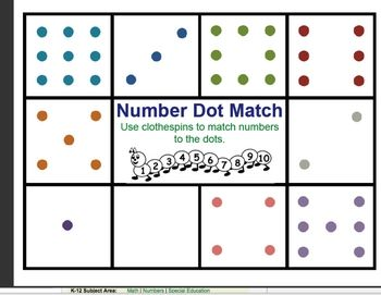 Clothespin Dot Match FREE on TPT: Dots Matching, Education Student, Easy Assessment, Special Education, Monitor Cou, Numbers Dots, Clothespins Assessment, Kindergarten, Clothespins Matching