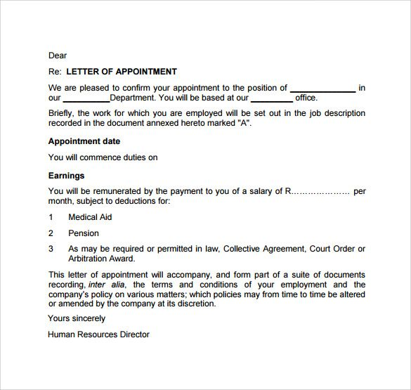 Appointment Letter Free Download PDF swity Pinterest - employment arbitration agreement