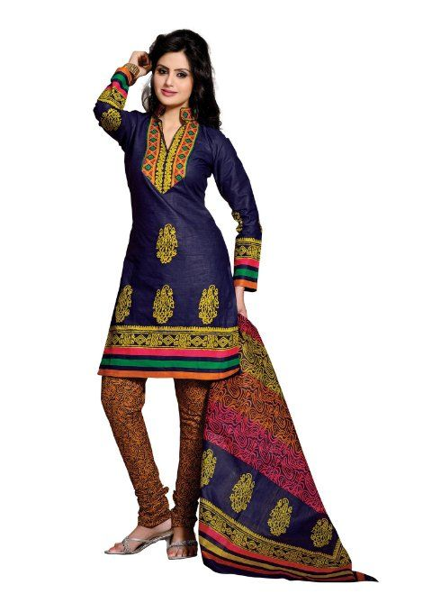 Amazon.com: Indian Designer Wear Pure Cotton Blue Printed Salwar kameez: Clothing