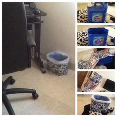 Trash can made with downy container and contact decorated paper!  Bote de basura hecho de un contenedor de 5 litros con contact decorado  Reciclando