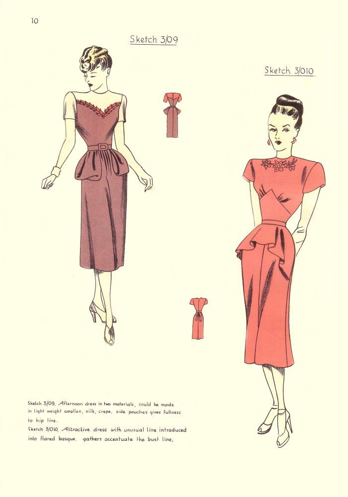 1940s Costume History - 1948 Free Pattern Cutting Fashion Pictures 1