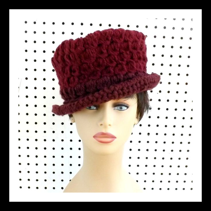 Crochet Hat Womens Hat ANDY Womens Fedora Hat Aubergine Hat Winter Hat by strawberrycouture on Etsy 55.00 USD