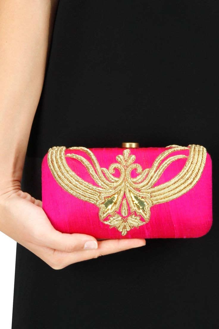 Pink embroidered clutch by Lovetobag. Shop now at www.perniaspopupshop.com #mostwanted #designer #fashion #couture #shopnow #perniaspopupshop #happyshopping