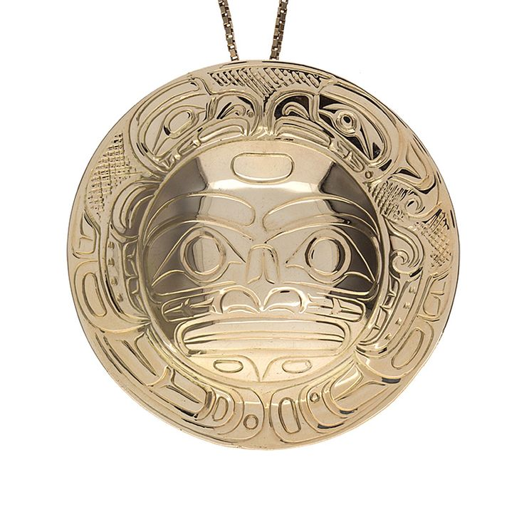 Stunning 14K First Nations Bolo Tie Slide/ Pendant. Well made with excellent carved lines depicting a moon & eagles made and signed by Don Lancaster. Can be worn as a bolo tie slide or as a pendant, the choice is yours. This is definitely a conversation starter!