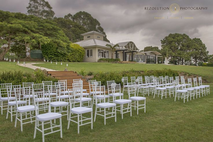 Ceremony at Summergrove Estate.  Tiffany chairs by Wishes Events. Photo by Rezolution Photography.