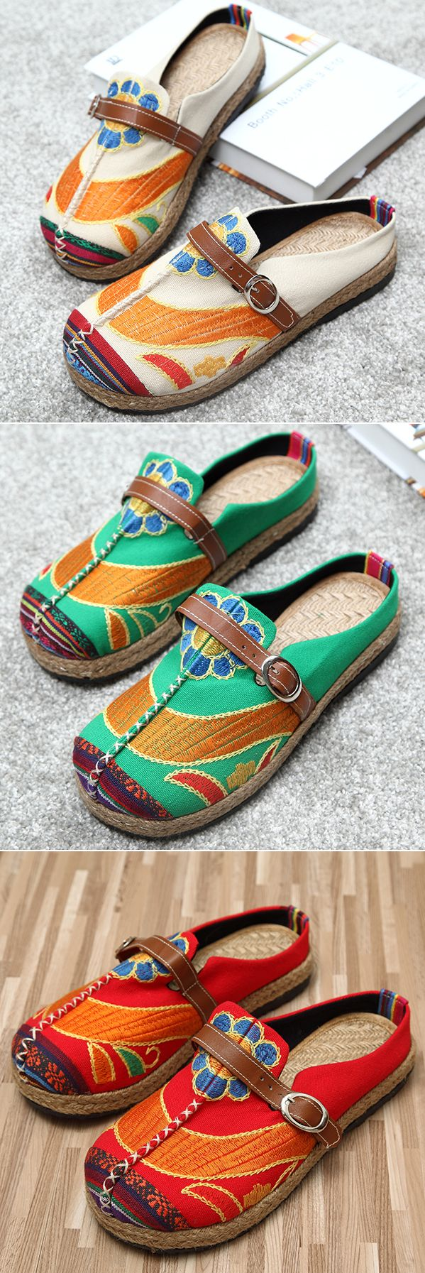47% OFF! US$19.32 Colorful Embroidered Buckle Folkways Backless Loafers For Women. SHOP NOW!