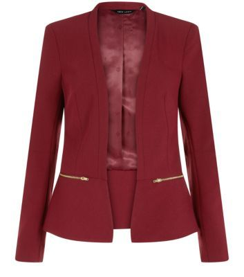 """Add a sophisticated colour to a work-wear style with this burgundy zip blazer - throw over a printed dress and sling back peeptoe heels.- Slim fit- Gold zip fastening- Open front design- Simple long sleeves- Model is 5'8""""/176cm and wears UK 10/EU 38/US 6"""