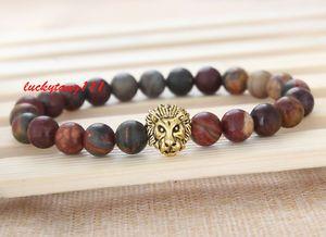 Men's Natural Picasso Jasper Gemstone Gold Lion Beaded Charm Bracelet Cheapest | eBay