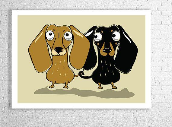 Dachshund couple  doxie dog design quality print size por Puppytee