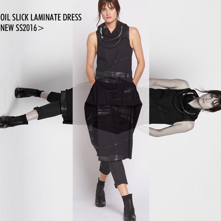 SS16 Oil Slick Funnel Tuck Dress