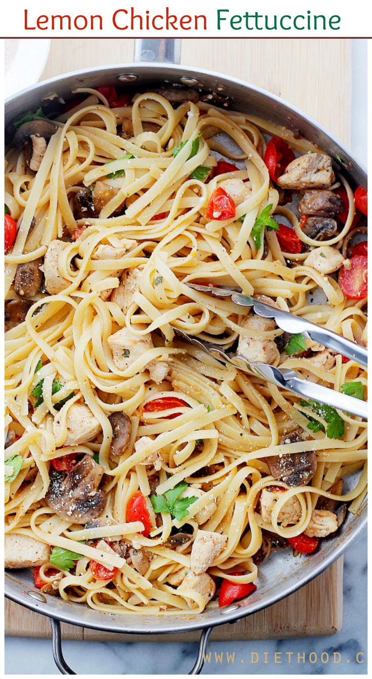 30-MINUTE, One-pan Lemon Chicken Fettuccine is a fresh and easy take on dinner, tossed with tomatoes, mushrooms, lemon juice and olive oil.
