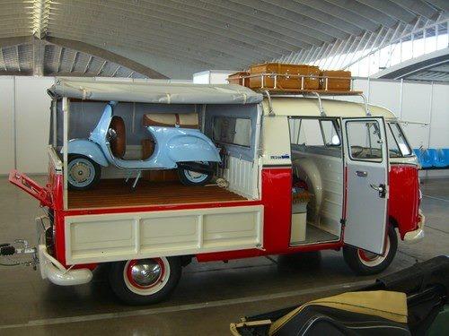 VW Camper Flat Bed / Transporter / Pickup Crew Cab with a Vespa on the back (bus / campervan / van / Volkswagen)
