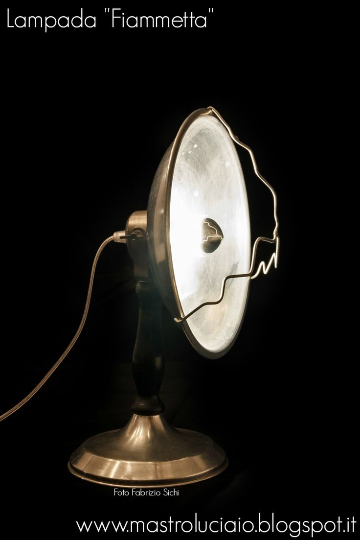 """""""Fiammetta"""" lamp, made with an electric heater from the 50's #lamp #vintage #heater #redesign #handicraft #recycle #reuse #artigianato #lampade #lights #luci"""