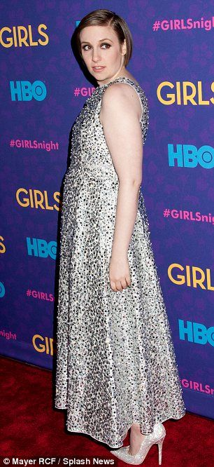 Woman of the hour: Lena Dunham wore a dazzling Rochas gown and towering heels to last night's event