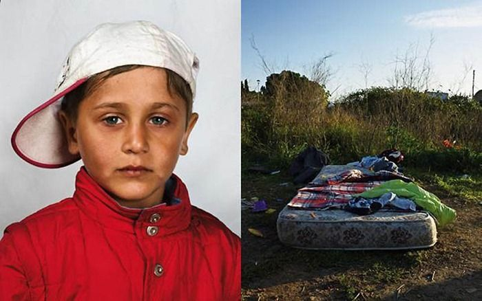 Home for this boy and his family is a mattress in a field on the outskirts of Rome, Italy. The family came from Romania by bus, after begging for money to pay for their tickets. When they arrived in Rome, they camped on private land, but the police threw them off. They have no identity papers, so they cannot obtain legal work. The boy's parents clean car windscreens at traffic lights. No one from his family has ever been to school.