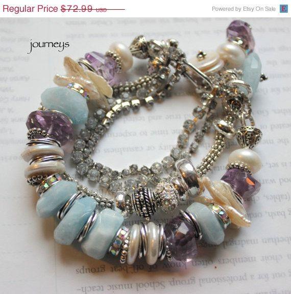 multi strand bracelet aquamarine bracelet amethyst by molliecarey, $58.39