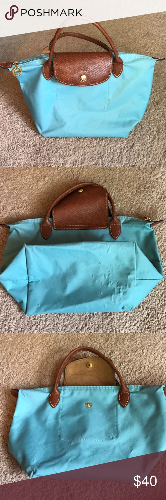 """Longchamp Le Pliage Small Great bag, showing signs of wear. Great sky blue color. Nylon with leather details, golden hardware, 3 1/2"""" handle drop. Size SMALL. Price reflects wear. Longchamp Bags"""