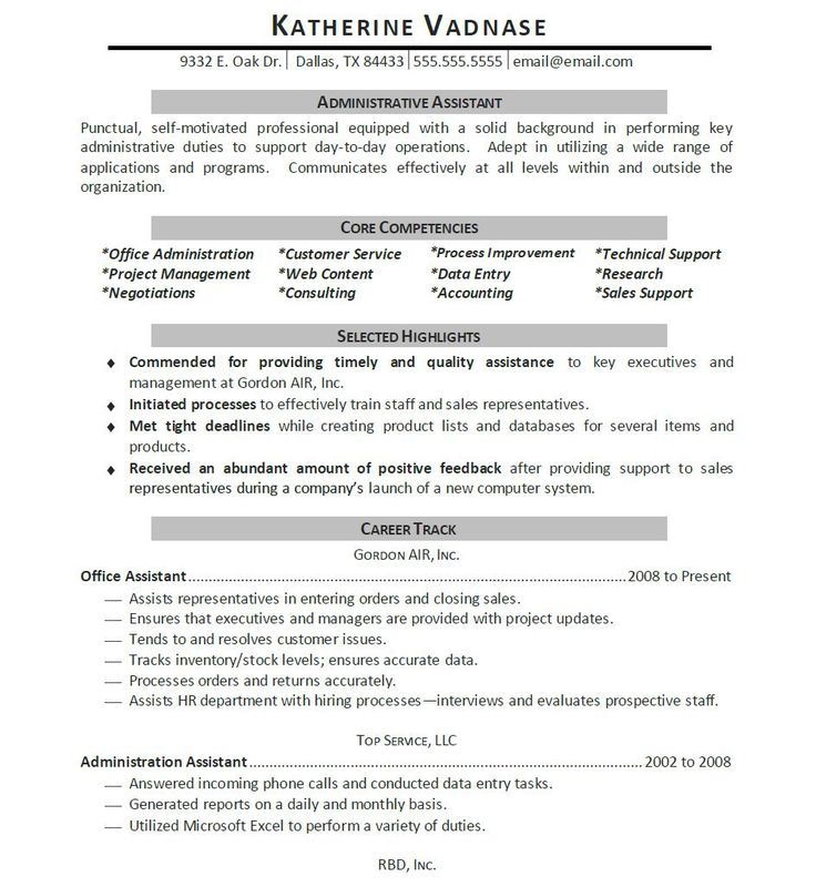 123 best Letter Examples images on Pinterest Resume cover - sample resumes for administrative assistant positions