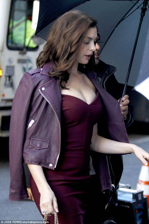 Va va voom: Anne Hathaway was spotted on the set of Ocean's 8 in New York on Friday in a s...