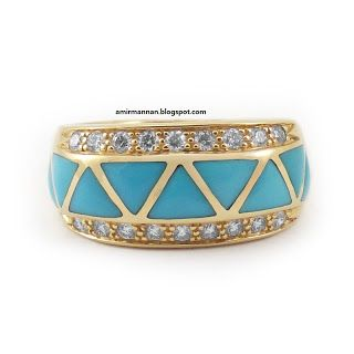 FA Mannan Jewellery Collection: Feroza Turquoise Gents Ring Jewellery Collection 7
