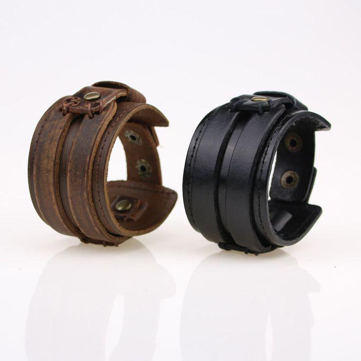 Hot Original Non-Mainstream Genuine Leather Male Bracelet Round Snap Button Wide Wristband Retro Vintage Punk Rock Bracelets