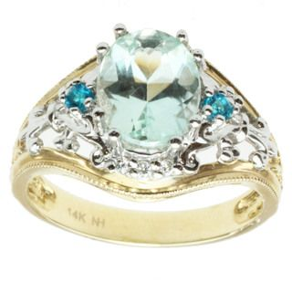 Michael Valitutti 14k Two-tone Gold Amblygonite, Apatite and Diamond Ring | Overstock.com 600