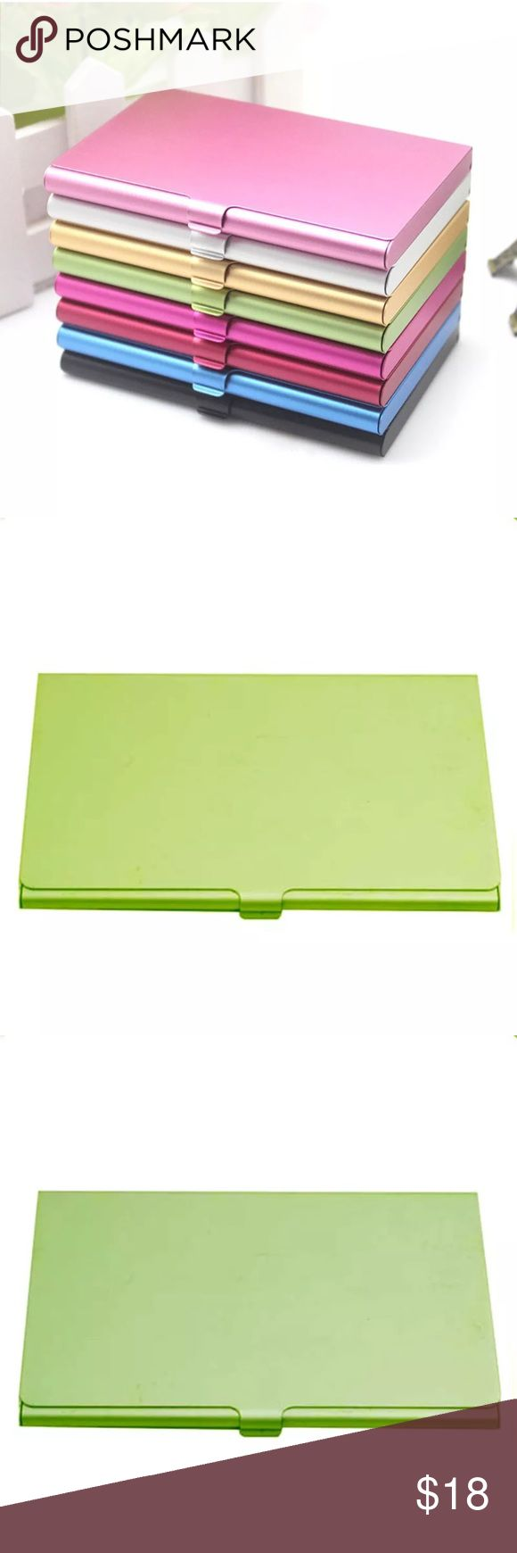 LIGHT GREEN ALUMINUM BUSINESS CARD CASE LIGHT GREEN ALUMINUM BUSINESS CARD CASE Brand new and high quality Solid, durable, easy to carry Easy to open and close. Stylish design, make your business life convenient and effective. Holds about 10 Business Cards depending on thickness of cards Such Card Holder is specially designed as Business Card Holder/Credit Card Holder/ID Card Holder/any other cards. Material: Aluminum Alloy Size: approx. 9.3*5.8*0.8cm Accessories Key & Card Holders