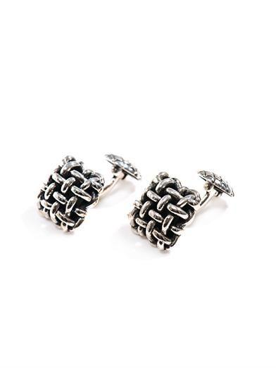 Basketweave silver cufflinks   #BottegaVeneta