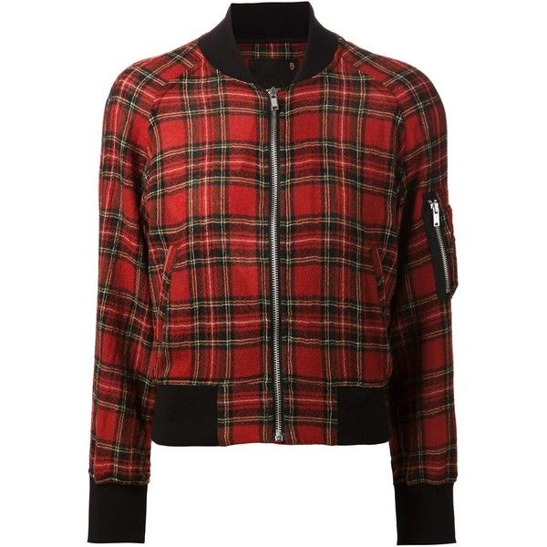 R13 Plaid Pattern Bomber Jacket ($703) ❤ liked on Polyvore featuring outerwear, jackets, red, bomber jacket, red bomber jacket, blouson jacket, colorful jackets and plaid bomber jacket