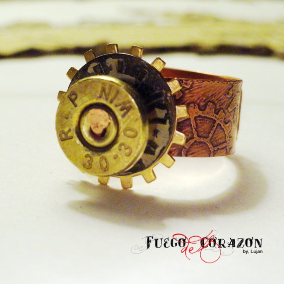 Steampunk 3030 Winchester Ring with Copper by fuegodelcorazon, $45.00
