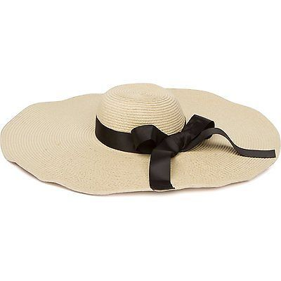 Extra Wide Brim Sun Hat Embellished with Black Ribbon