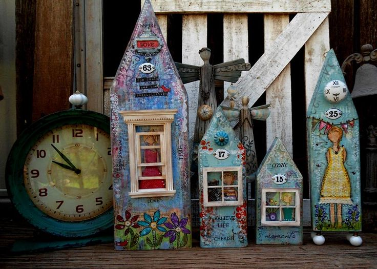 mixed media houses on wood made by gerry*