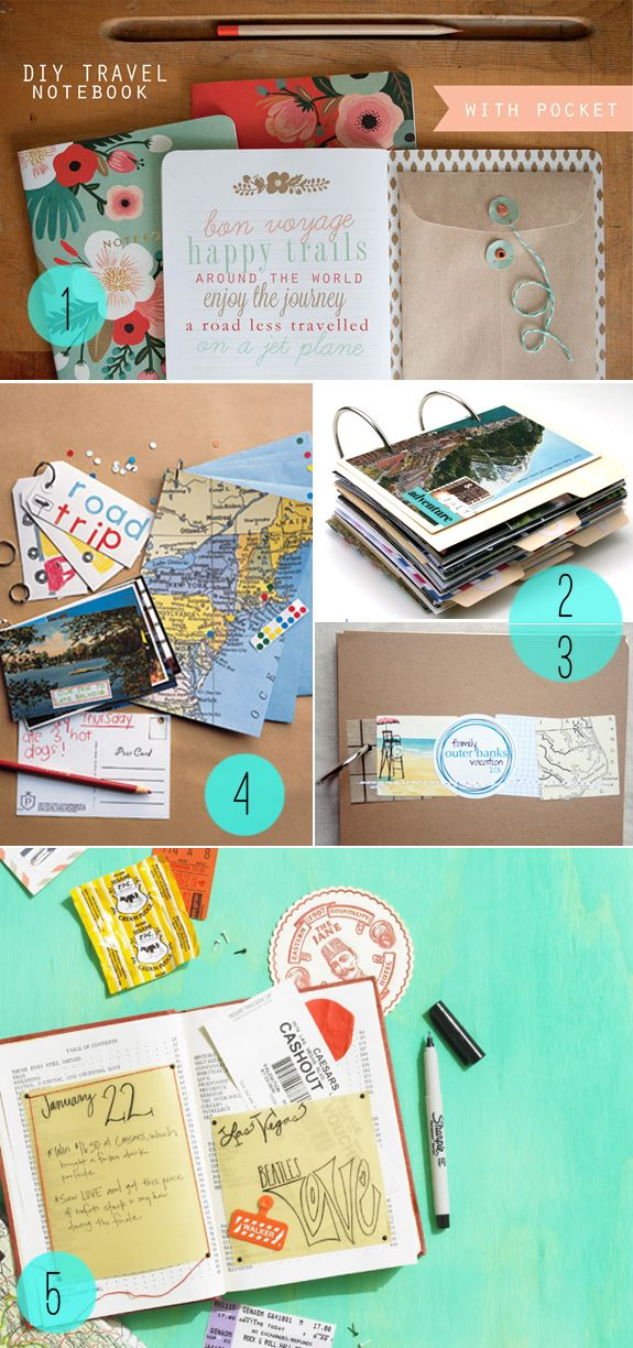 Five DIY journal projects, perfect for wherever your world travels take you! These make it more probably that you actually take notes on your trip!.