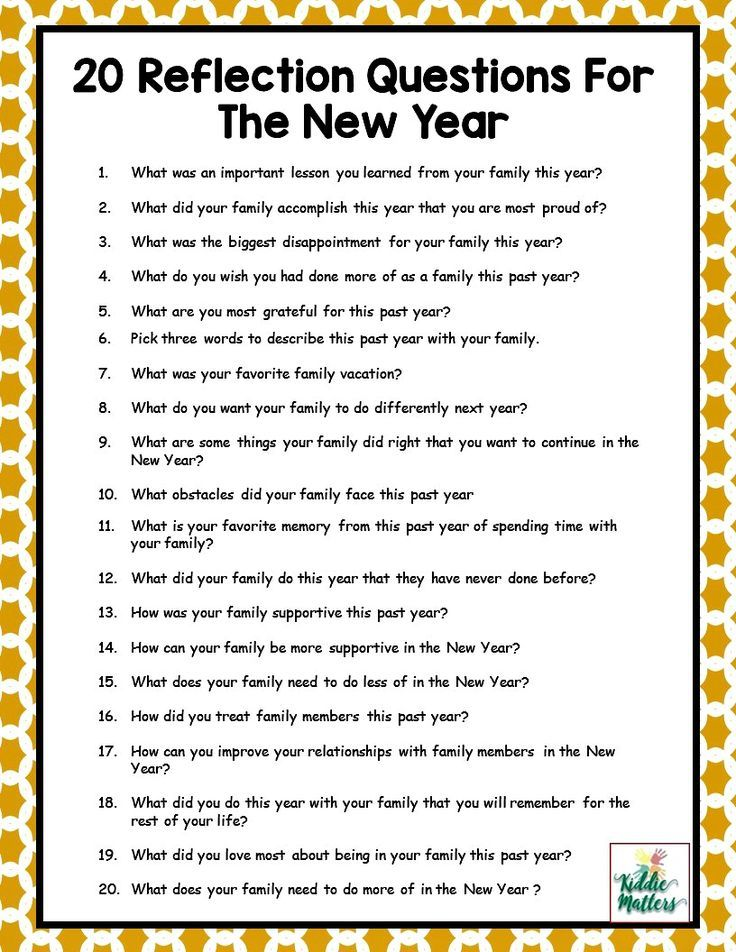 New years is the time to reflect and set goals for the upcoming year. These reflection questions will help your family think about what progress they have made and what areas they can still improve on.