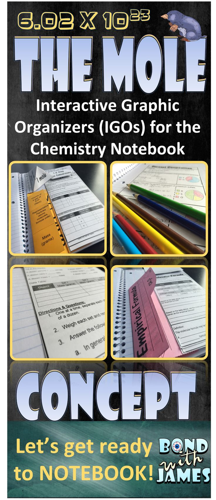 The Mole Concept for Chemistry Interactive Notebooks. All-in-One: Engage, explore, explain, elaborate, and evaluate!