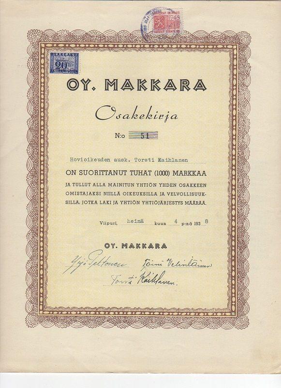 Oy Makkara #osakkeet #osakekirjat