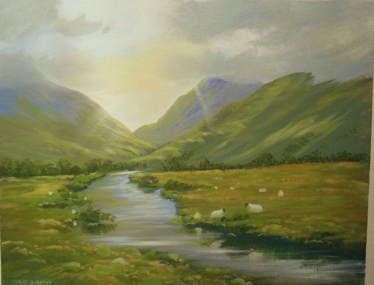 hills of connemara - Painting,  2x16x20 in ©2014 by Cathal O Malley -