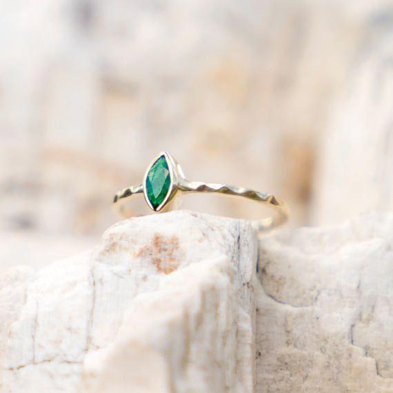 Emerald Engagement Ring, 14k Gold Ring, Alternative Wedding Ring, Green Gold Ring, Natural Emerald Ring, Stacking Ring, Delicate Ring